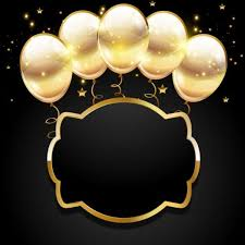 Golden Balloon With Black Birthday Background 03 Free Download