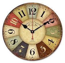 Top Latest Ularma Reloj De Pared Madera De Estilo Toscano De Pas Francs  Colorido Vintage With Relojes Originales De Pared With Relojes De Cocina  Originales.