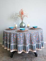 tile print blue round tablecloth inch saffron marigold 90 al