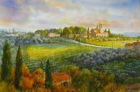 tuscan countryside in italy roland lee watercolor painting