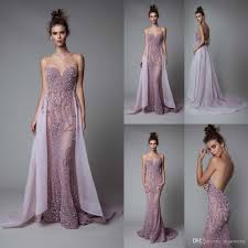 Berta 2017 Lavender Evening Dresses Backless Luxury Crystal