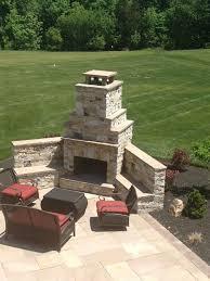 patio grass fireplace