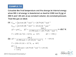 example 7 6 calculate the final temperature and the change in internal energy when 500 j