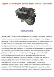 Toyota 1az Fse Engine Service Repair Manual D by NolaOconnor - issuu