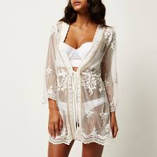 River Island White Embellished Lace Cover Up Kaftan In White Lyst