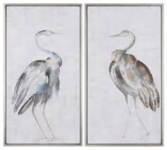 white gray tall cranes modern wall art set of 2 birds silver facing herons