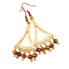 gilt gold and copper pearl chandelier dangle earrings images of