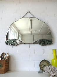 art deco wall mirror uk vintage bevelled edge lovely fan shape chrome details wow kids room