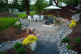 river rock patio decorating ideas traditional with outdoor dining stone landscape small46