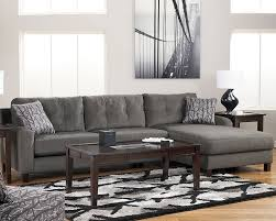 Gray L Shaped Leather Sectional Sofa For Small Living Room Layout With  Contemporary Table Lamps