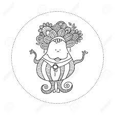 かわいい楽しい落書き人形ベクトル図と狂気の髪大きな笑顔宝石まんじストライプ落書きカーリ