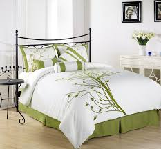 chezmoi collection  pieces green tree on white queen comforter
