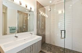 contemporary guest bathroom ideas. A Contemporary Guest Bathroom With Wall Lights - Love The Trough Style Sink Ideas
