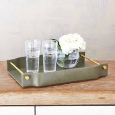 Decorative Serving Trays With Handles Mid Century Modern Green Leather Gold Serving Tray Decorative Bar 93