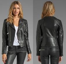 anine bing leather biker jacket in black