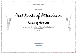 Sample Certificate Of Attendance Template 40 Fantastic Certificate ...