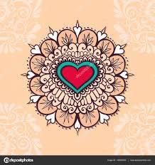 эскиз татуировки хной сердца векторное изображение Xarlyxa