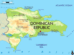 large physical map of dominican republic with major cities