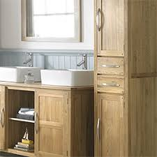 elegant tall solid oak two freestanding drawer cabinet in bathroom cabinets