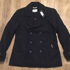 superdry arge chest commodity slim dark navy blue wool pea coat mens superdry blue superdry superdry bags top brand whole