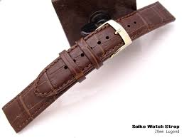 20mm seiko calf b leather dark brown alligator grain strap