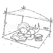 image drawing cartoon style of kid reading book in the park stock photo colourbox