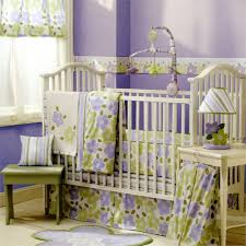 unique baby girl bedding themes purple cotton baby bedding sets green painted wood end table white