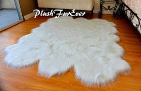 faux fur 5x7 area rugs throw carpeting flokati white sparkle tinsel sheepskins 639725422622