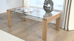 image of wood coffee table with glass top simple