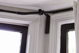curtain awesome bay window curtain pole for eyelet curtains images inspirations rod at bath and