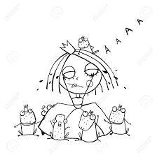 Princess Crying And Many Prince Frogs Coloring Page Outline ...