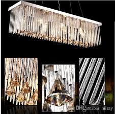 luxury ac110 240v modern rectangular crystal chandeliers pendant light dining room length 80cm 100cm led ceiling lamp with 6 led chandeliers chandelier