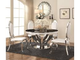 Coaster Anchorage Faux Marble And Chrome Stainless Steel 5 Piece