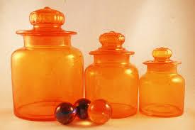 vintage retro orange glass kitchen or bar canister set