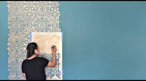 I Do Not Like This Painting Template How To Stencil A Diy Wallpaper Look For Less Painting A Feature Wall With Pattern For Cheap