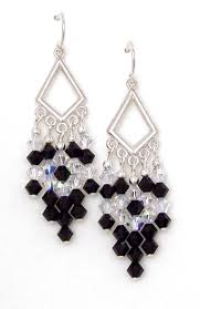 03 04 910 black crystal chandelier earrings