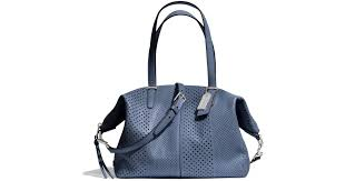 Lyst - Coach Bleecker Cooper Satchel in Perforated Leather in Blue