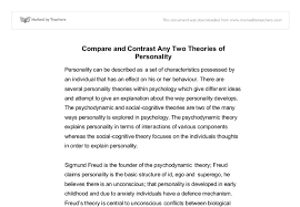 compare and contrast any two theories of personality a level  document image preview