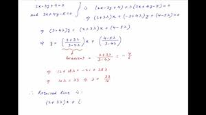 find equation of line through intersection of 2x 3y 4 0 3x 4y 5 and perpendicular to 6x 7y 8 0
