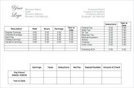 Excel Paycheck Template Blank Pay Stub Template For Ms Excel Excel
