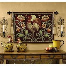 sunrise rooster folk art tapestry wall hanging 34 quot x 26 quot  on wall art tapestry hangings with country folk art sunrise rooster tapestry wall hanging
