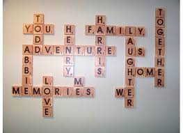 Crossword art or scrabble art includes the whole family in a personalized craft. Remodelaholic Scrabble Living Large Family Names Art Project