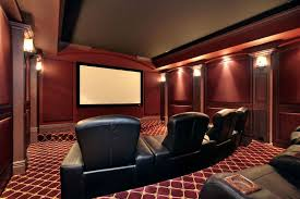 movie room furniture ideas. Red Theatre Room With Large Leather Chairs Movie Furniture Ideas R