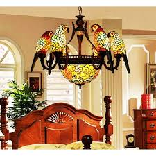 makernier vintage tiffany style stained glass parrots chandelier