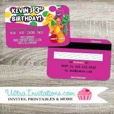 Credit Card Party Invitations Barney Birthday Invitations Barney Dinosaur Birthday Party Invites