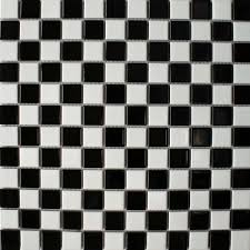 Porcelain Gloss Chequer Black & White Small Tiles from the Toto Chequer  Black & White Mosaic Tiles range by Bejewelled -