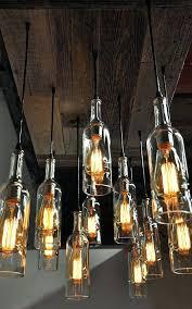 edison bulb fixtures oversized reclaimed wood wine bottle chandelier dining room lighting wine bar lighting edison