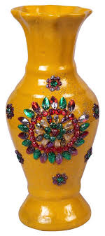11 yellow flower vase with colorful fl glass gems handmade decorative flower pot in bulk at