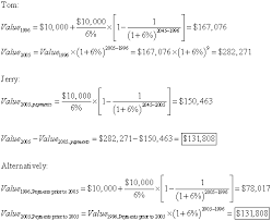 please help me my finance homework assignment in the first method you could the present value of all of the payments in 1996 for tom then convert that to the present value in 2005