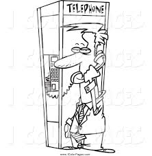 Vector Coloring Page of a Black and White Businessman in a Phone ...